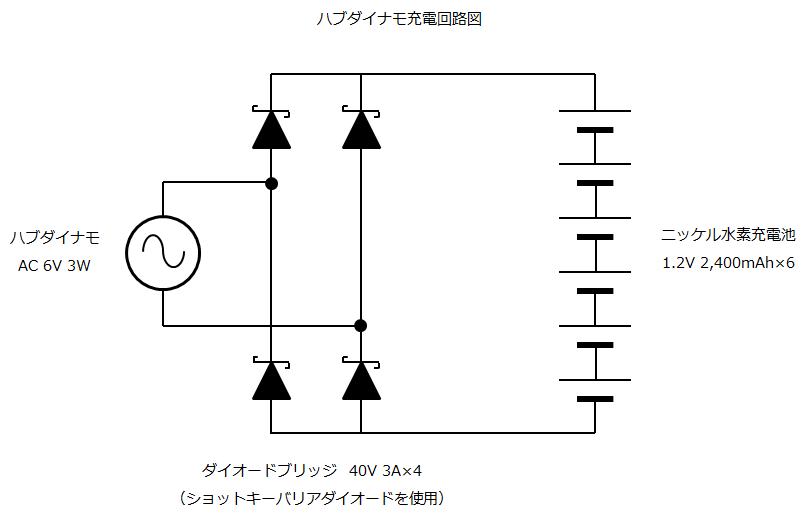 ハブダイナモ充電回路図